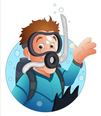 snorkel: Cartoon Diver Karakter Stock Illustratie