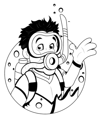 swimming costumes: Cartoon Scuba Diver