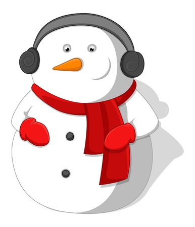 Cartoon Snowman - Christmas   Vector