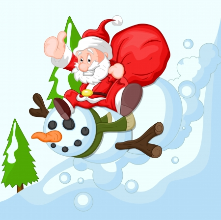 Cartoon Santa with Snowman Vector