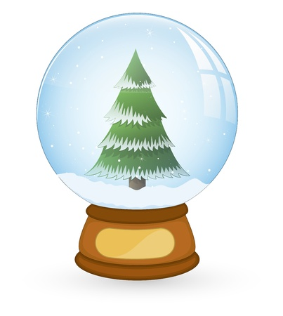 Tree in Christmas Snow Ball Stock Vector - 16832619