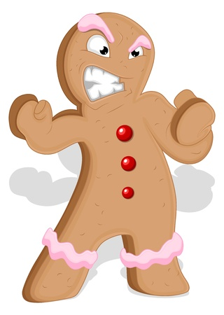 Angry Gingerbread Man - Christmas   Vector