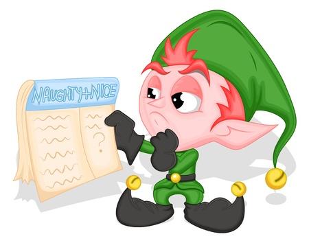 cartoon elfe: Elf Halten Naughty and Nice Liste - Christmas Illustration