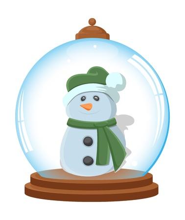 Cartoon Snowman in Ice Globe Stock Vector - 16832639