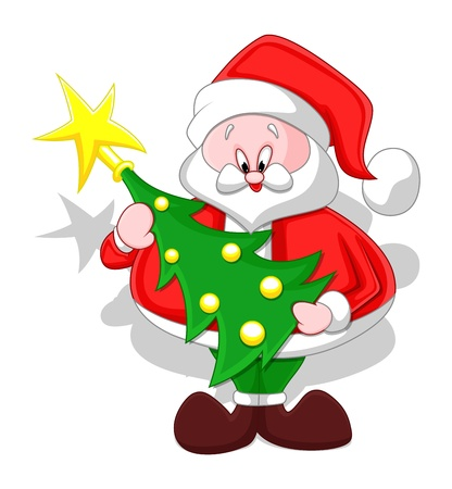 Cartoon Santa with Christmas Tree Stock Vector - 16832197