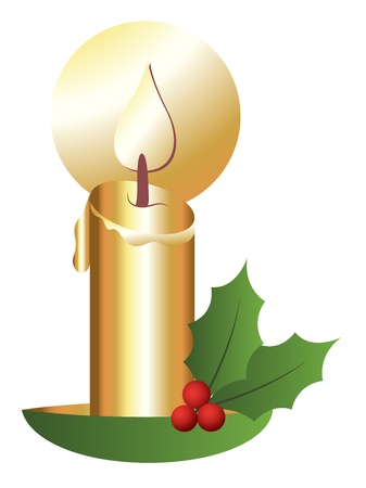 holy leaves: Christmas Theme Holy Leaves with Candle Illustration