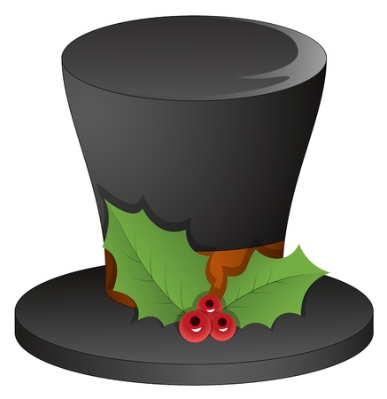 bowler hats: Magician Hat with Holy Leaves - Christmas Illustration