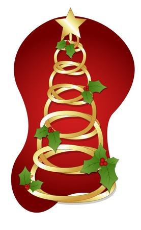 Golden Spiral Tree - Christmas   Vector
