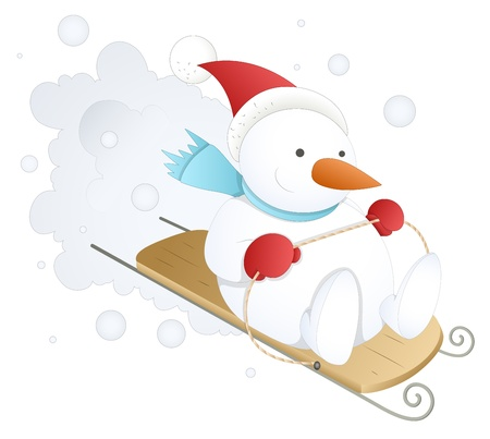 Funny and Cute Snowman - Christmas   Vector