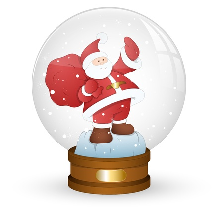 Santa in Xmas Snow Globe Stock Vector - 16832618