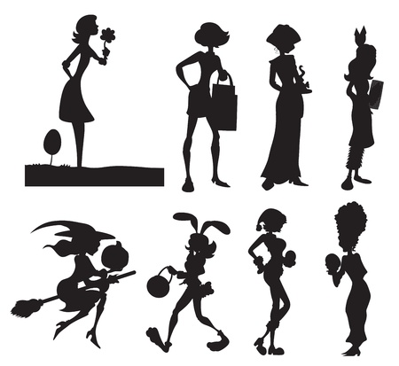 besom: Fashion Girls Silhouettes Illustration