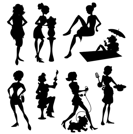 Fashion Women Silhouettes Stock Vector - 17031401