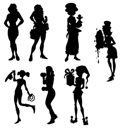 Fashion Women Silhouettes Collection Vector