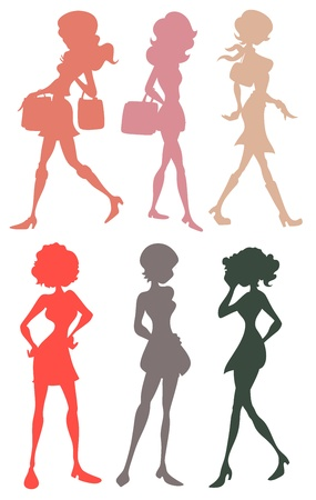 Teenage Girls Silhouettes Vector