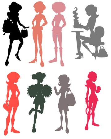 Young Girls Silhouettes Vector