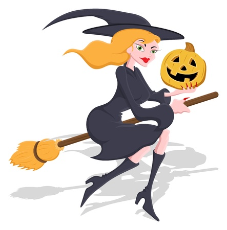 flying hat: Halloween Witch Character