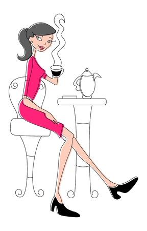 woman drinking coffee: Cartoon Girl at Restaurant