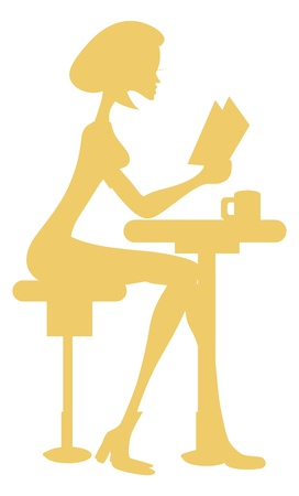 Girl Reading Book Silhouette