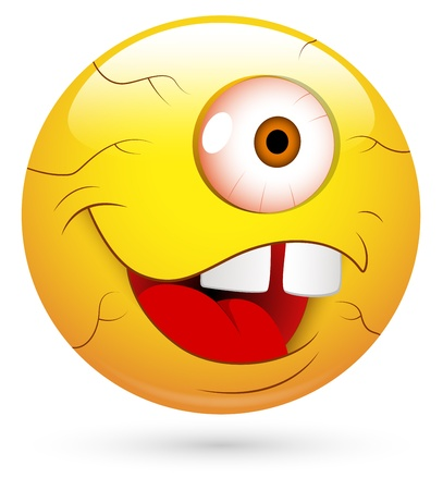 alien clipart: Smiley Illustration - One Eyed Man Face
