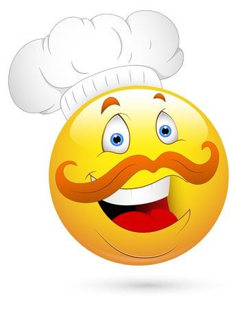 Smiley Illustration - Chef Face Vector