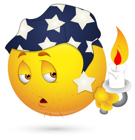 tired cartoon: Smiley Vector Illustration - Sleepily Face with Candle