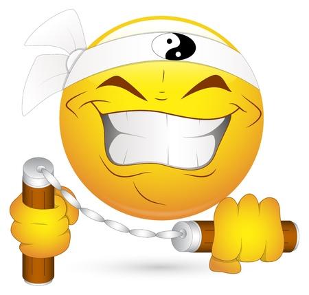 Smiley Vector Illustratie - Japanse Nunchak Ninja
