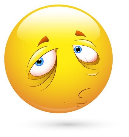 cara triste: Smiley Vector Ilustraci�n - somnolienta y triste Vectores