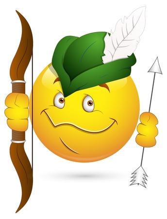 blushing: Smiley Vector Illustration - Robin Hood Face Illustration