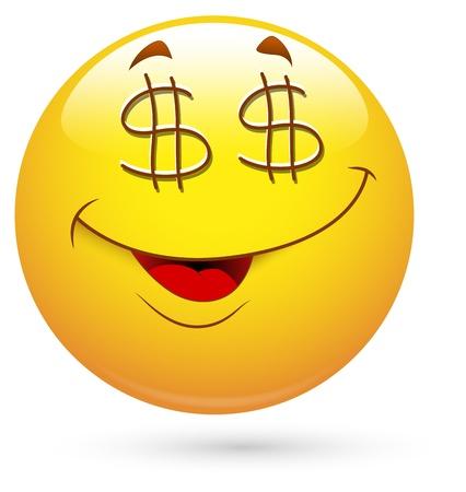 emoticone: Smiley illustrazione vettoriale - Dollaro Occhi