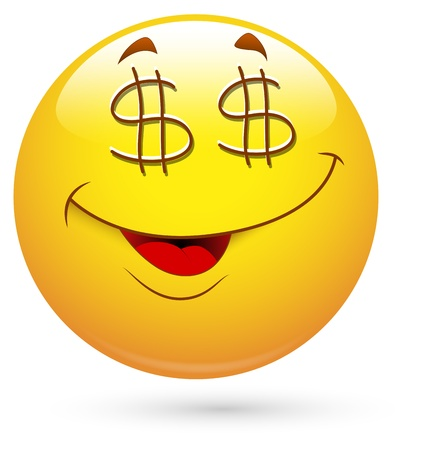 cartoon money: Smiley Vector Illustration - Dollar Eyes