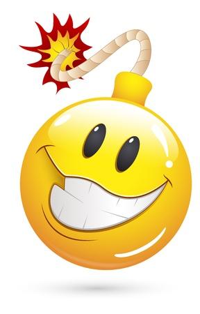 fouten: Smiley Vector Illustratie - Aanbieding Blast Bomb Gezicht