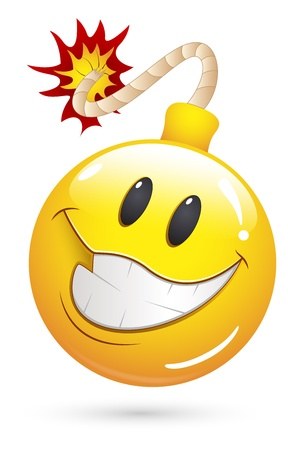explosive: Smiley Vector Illustration - Offer Blast Bomb Face