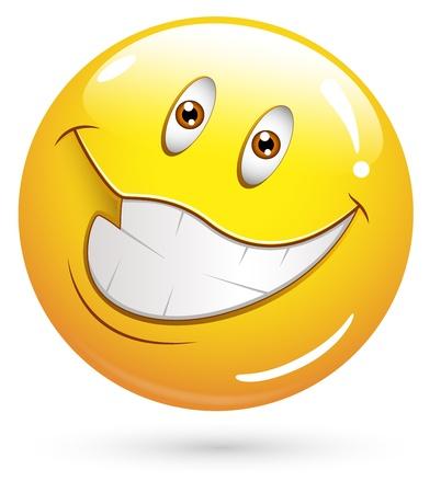 happiness: Smiley del vector - Face Very Happy Vectores