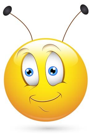 behaviour: Smiley Vector Illustration - Bee with Antena Illustration