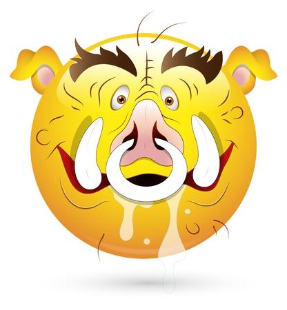 Smiley Vector Illustration - Pig Face Stock Vector - 18249812