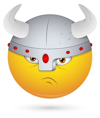 angry smiley face: Smiley Vector Illustration - Viking Face