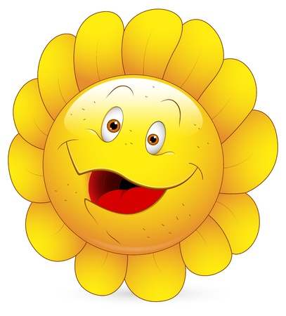 sunflower isolated: Smiley Vector Illustration - Sunflower