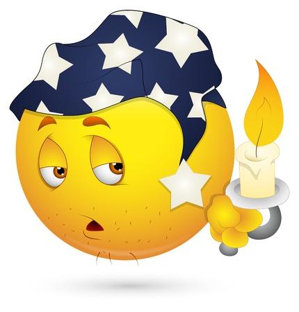 candles: Smiley Vector Illustration - Sleepless Illustration