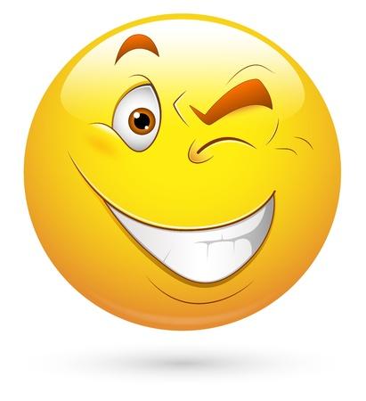 winking: Smiley illustrazione vettoriale - Eye Lampeggiante Vettoriali