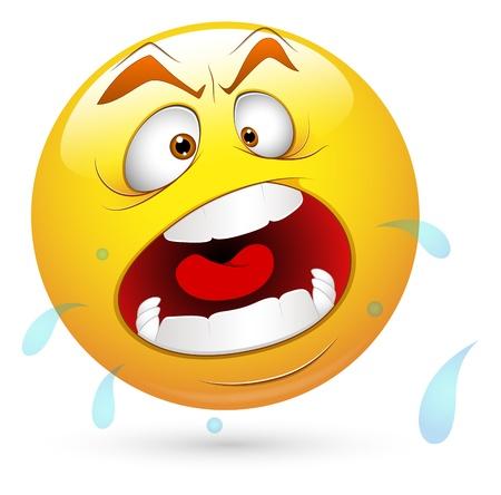 emoticone: Smiley illustrazione vettoriale - Gridare Viso