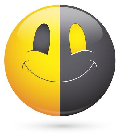 cuteness: Smiley Vector Illustration - Half Black