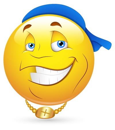 emoticone: Smiley illustrazione vettoriale - Hip-Hop Danza Artista Viso Vettoriali