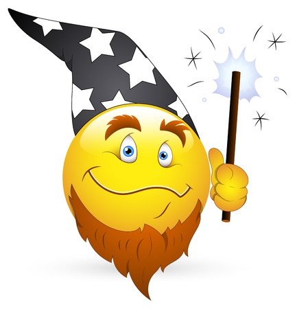 Smiley Vector Illustration - Wizard Face with Magic Wand Vector