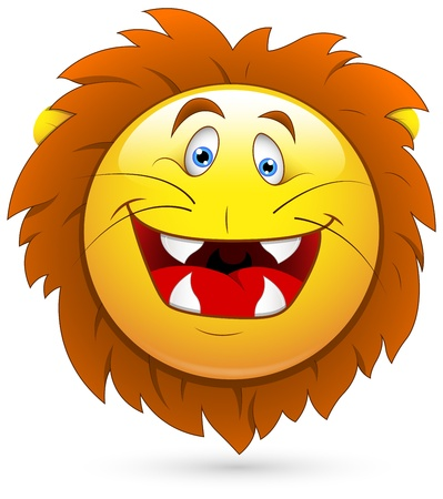 round: Smiley Vector Illustration - Lion Head