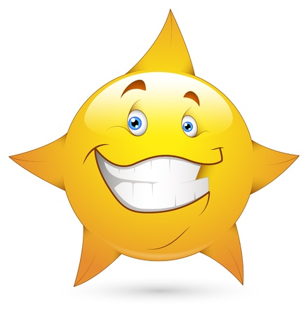satisfied expression: Smiley Vector Illustration - Star Face