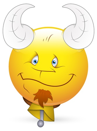 Smiley Vector Illustration - Face with Horn and Bell Vector