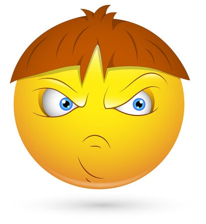 feeling bad: Smiley Vector Illustration - Bad Kid Face
