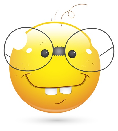 Smiley Vector Illustration - Book Worm Face Vector