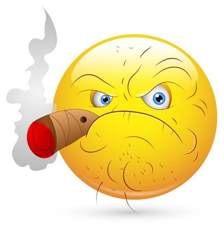 hombre fumando puro: Ilustraci�n vectorial Smiley - cara del hombre que fuma