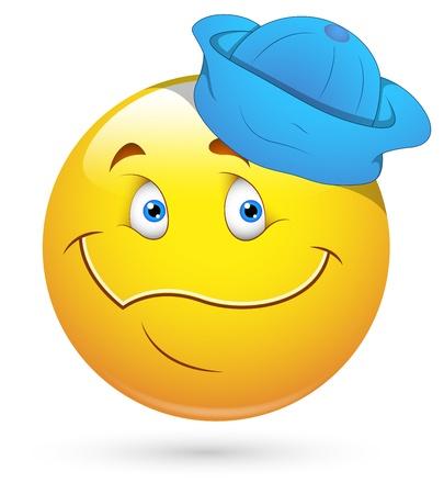Smiley illustrazione vettoriale - Viso con Sailor Cap